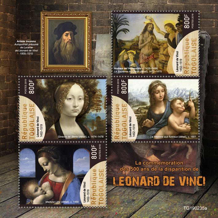 Leonardo da Vinci - Issue of Togo postage stamps