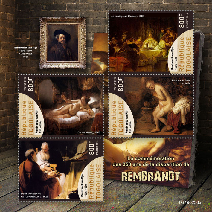 Rembrandt - Issue of Togo postage stamps