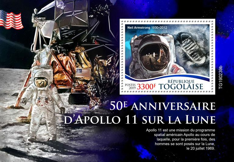 Apollo 11 - Issue of Togo postage stamps