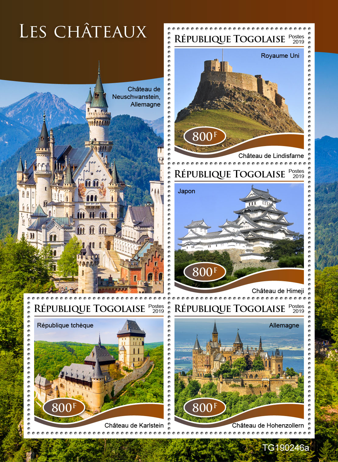 Castles - Issue of Togo postage stamps