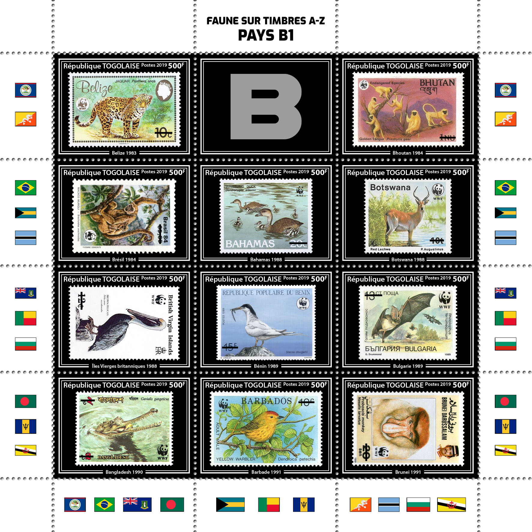 Stamps on stamps 11v – 01 - Issue of Togo postage stamps