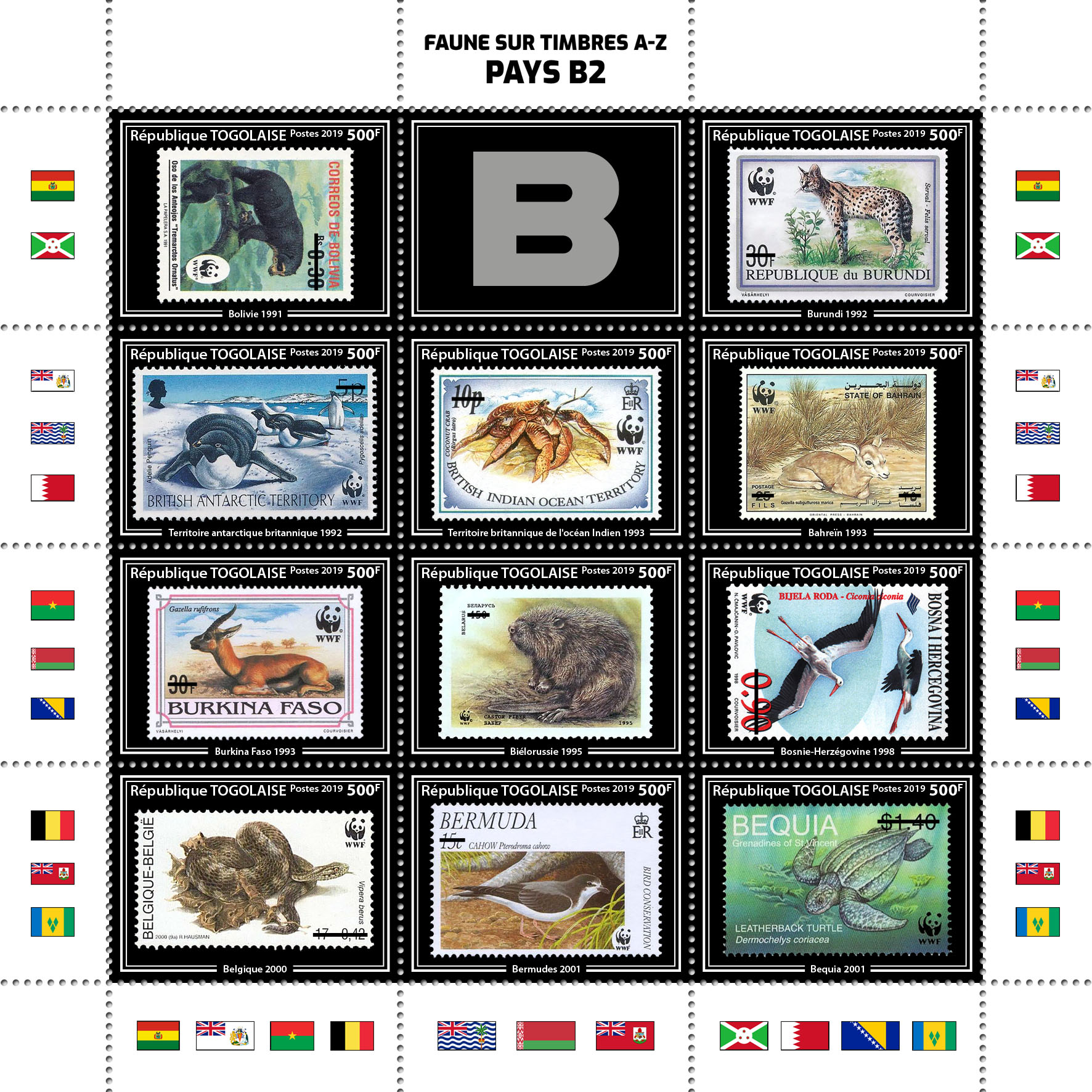 Stamps on stamps 11v – 02 - Issue of Togo postage stamps