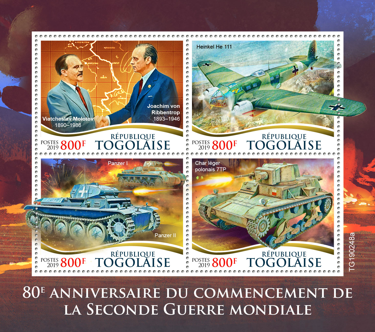 World War II - Issue of Togo postage stamps
