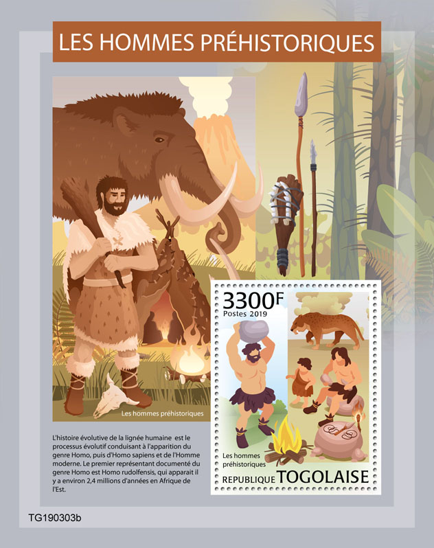 Prehistoric human - Issue of Togo postage stamps
