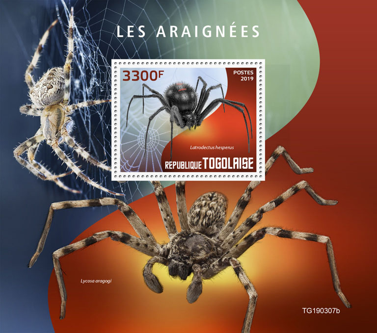Spiders - Issue of Togo postage stamps