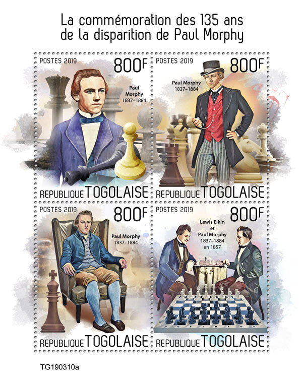Paul Morphy - Issue of Togo postage stamps