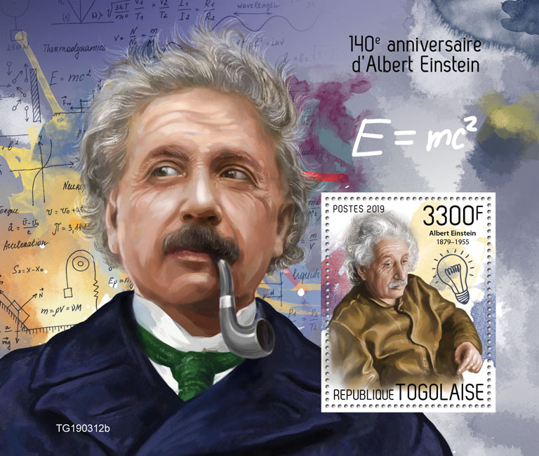 Albert Einstein - Issue of Togo postage stamps