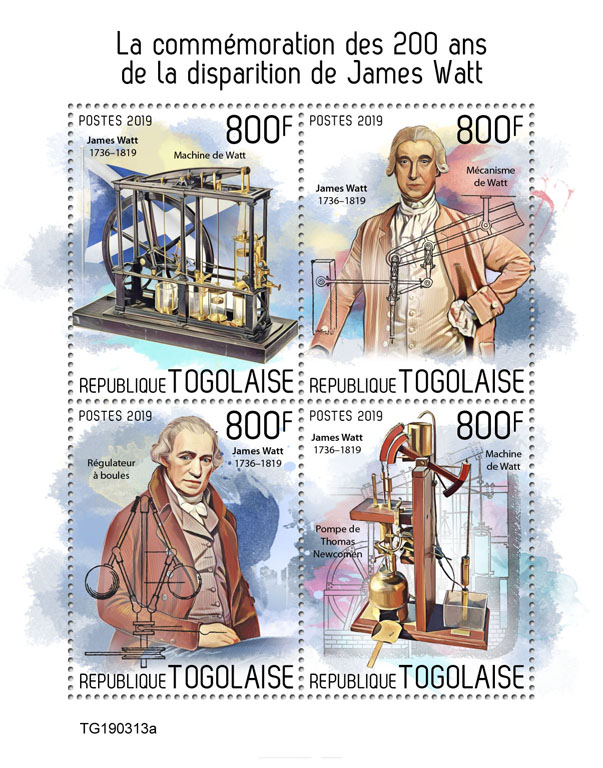 James Watt  - Issue of Togo postage stamps