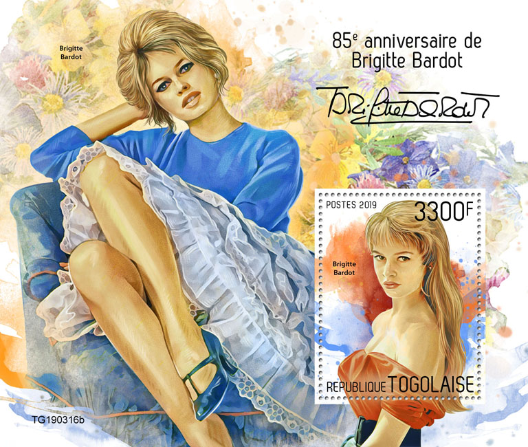Brigitte Bardot  - Issue of Togo postage stamps