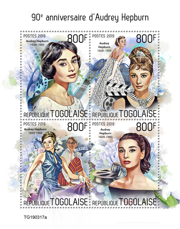Audrey Hepburn - Issue of Togo postage stamps