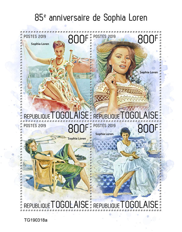 Sophia Loren - Issue of Togo postage stamps