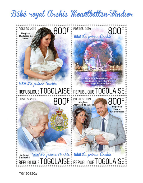 Royal baby - Issue of Togo postage stamps