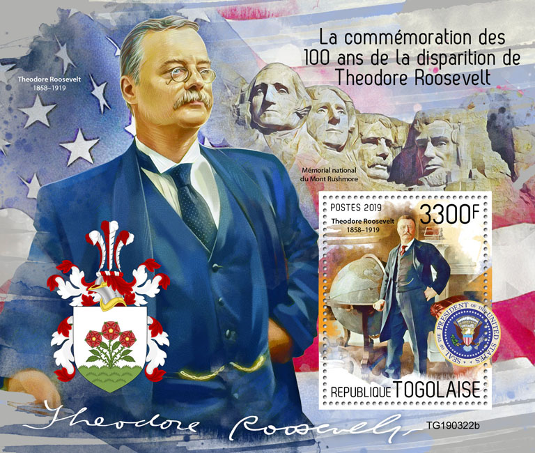 Theodore Roosevelt - Issue of Togo postage stamps