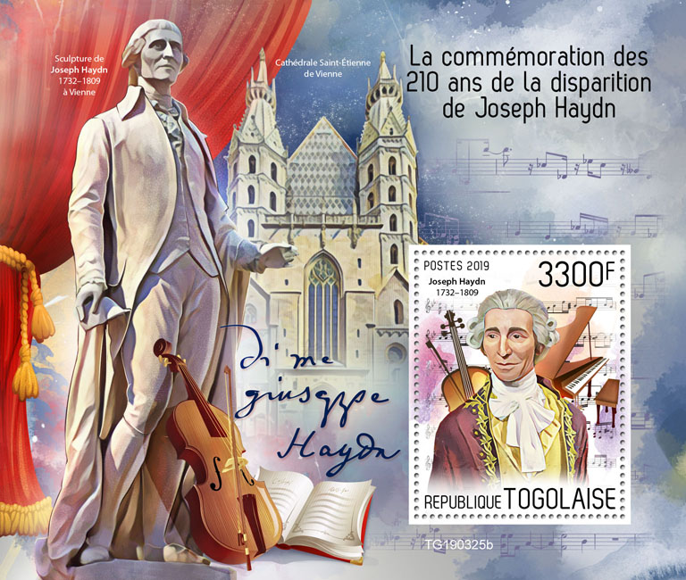 Joseph Haydn - Issue of Togo postage stamps