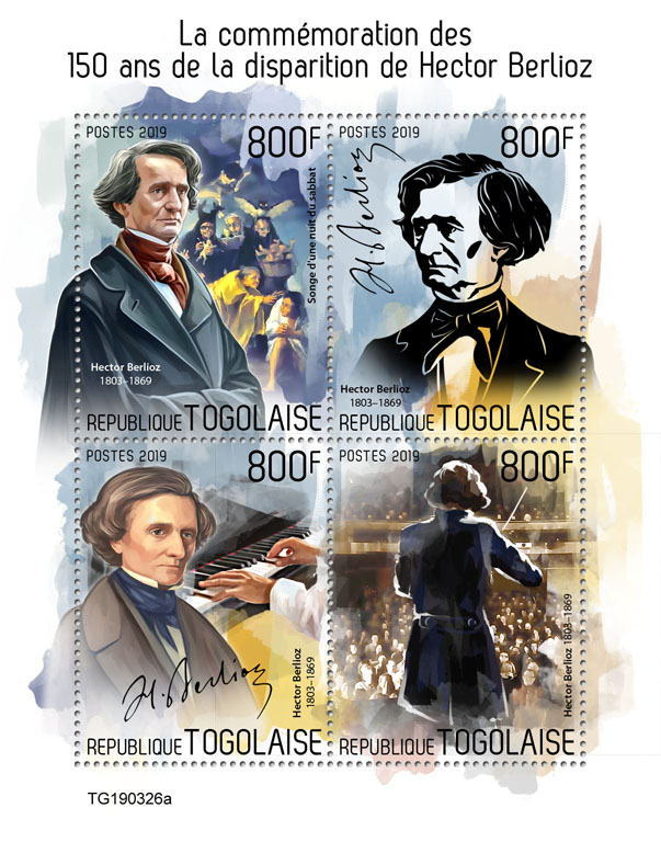 Hector Berlioz - Issue of Togo postage stamps