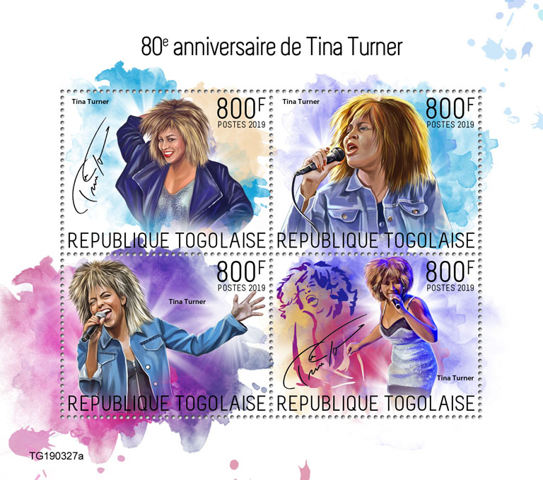 Tina Turner - Issue of Togo postage stamps