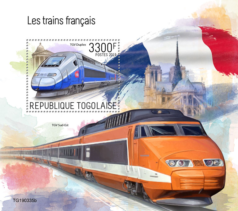 French trains - Issue of Togo postage stamps
