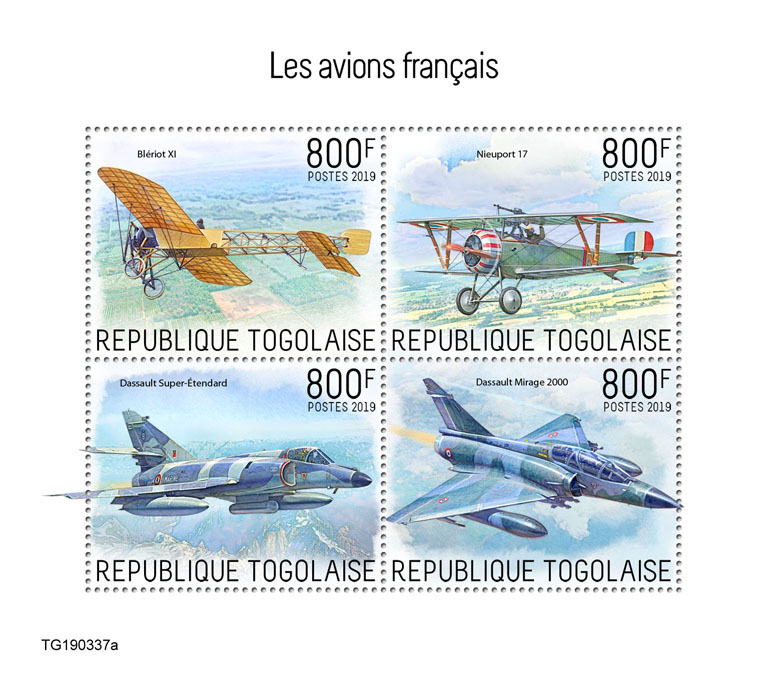 French planes - Issue of Togo postage stamps
