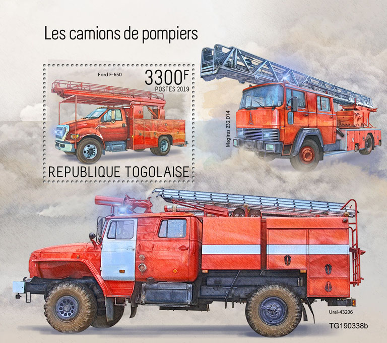 Fire engines - Issue of Togo postage stamps