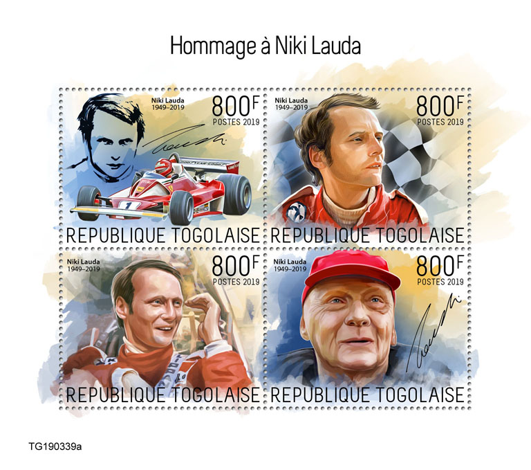 Niki Lauda - Issue of Togo postage stamps