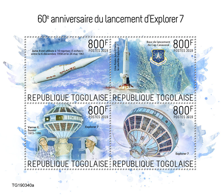 Launch of Explorer 7  - Issue of Togo postage stamps