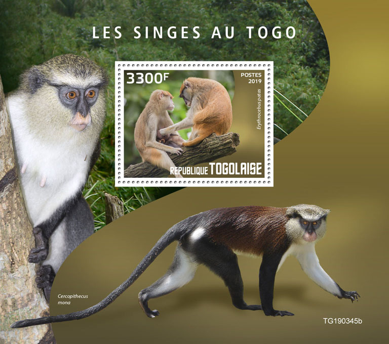 Monkeys in Togo - Issue of Togo postage stamps