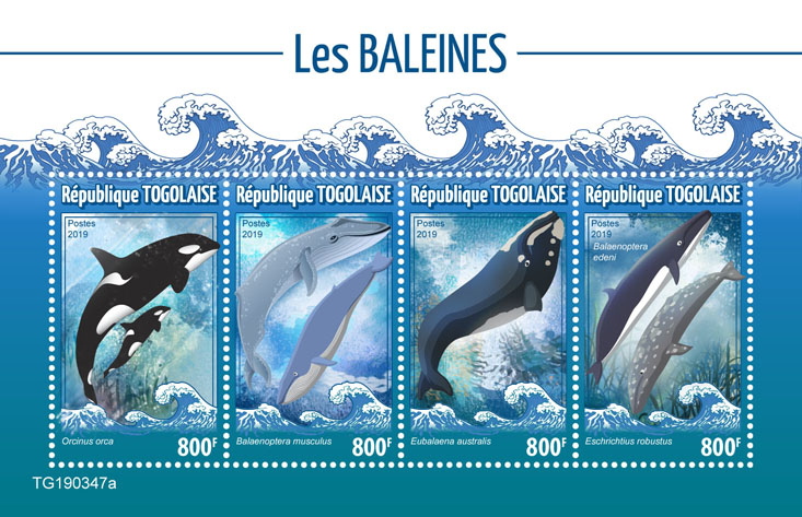 Whales - Issue of Togo postage stamps