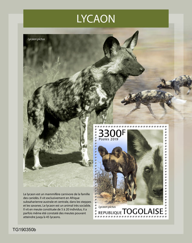 African wild dog - Issue of Togo postage stamps