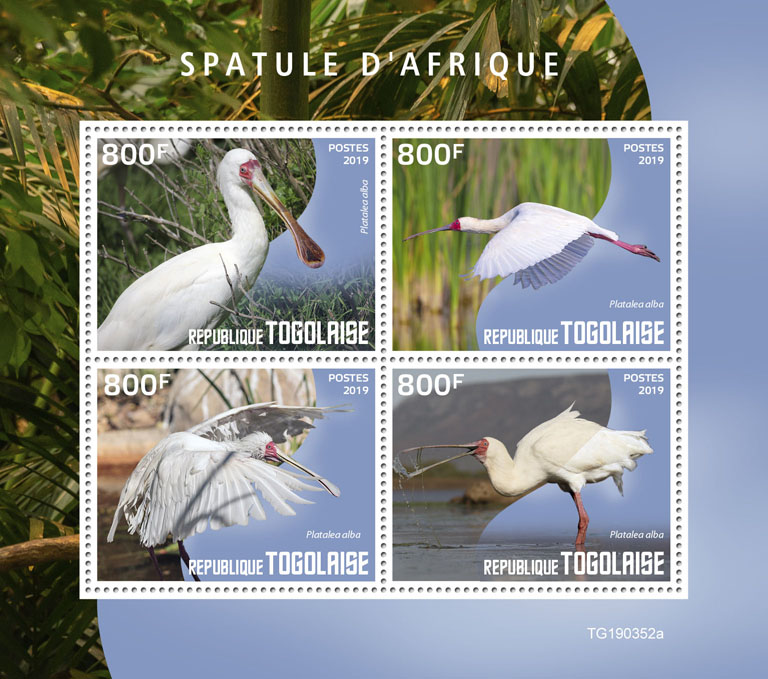 African spoonbill - Issue of Togo postage stamps