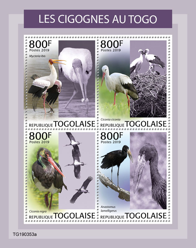 Storks - Issue of Togo postage stamps