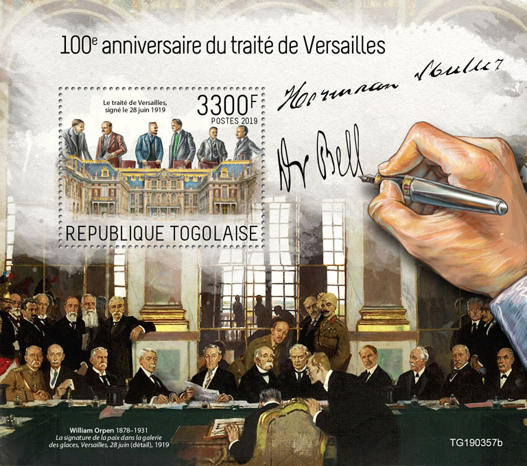 Treaty of Versailles - Issue of Togo postage stamps