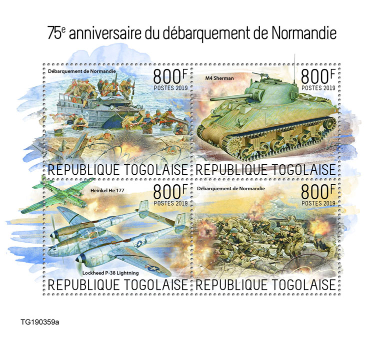 Normandy landings - Issue of Togo postage stamps