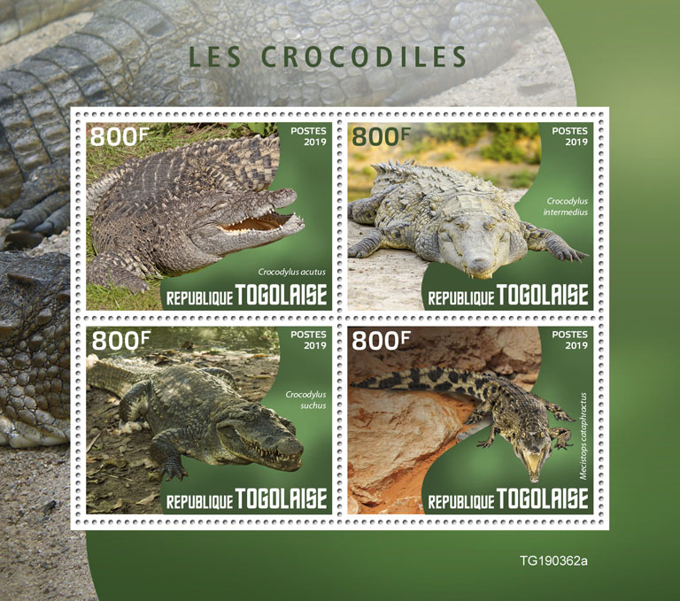 Crocodiles - Issue of Togo postage stamps