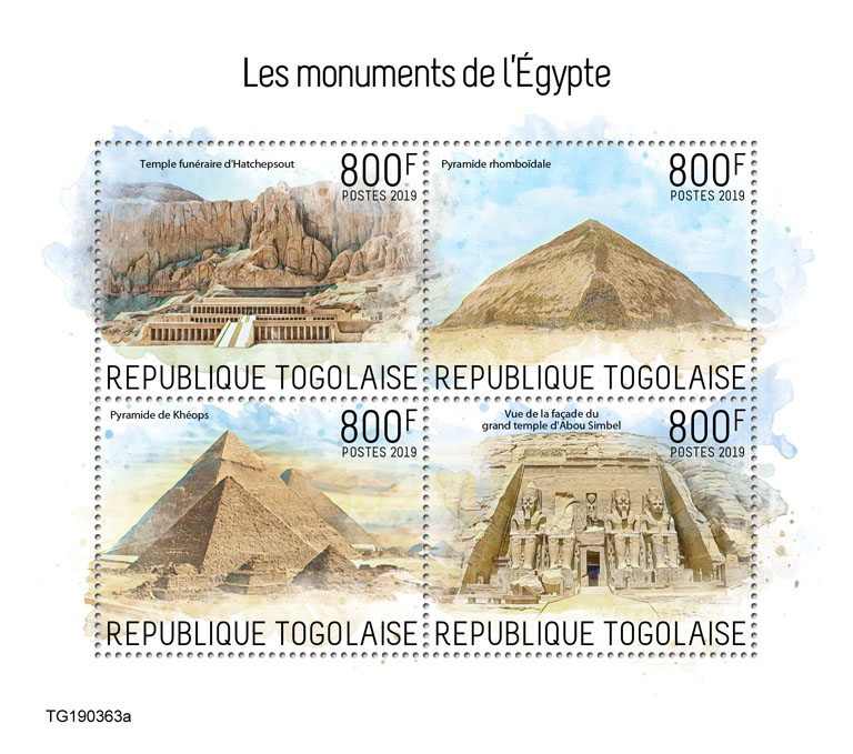Monuments of Egypt - Issue of Togo postage stamps