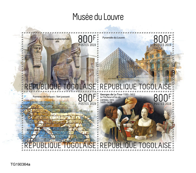 Louvre Museum - Issue of Togo postage stamps