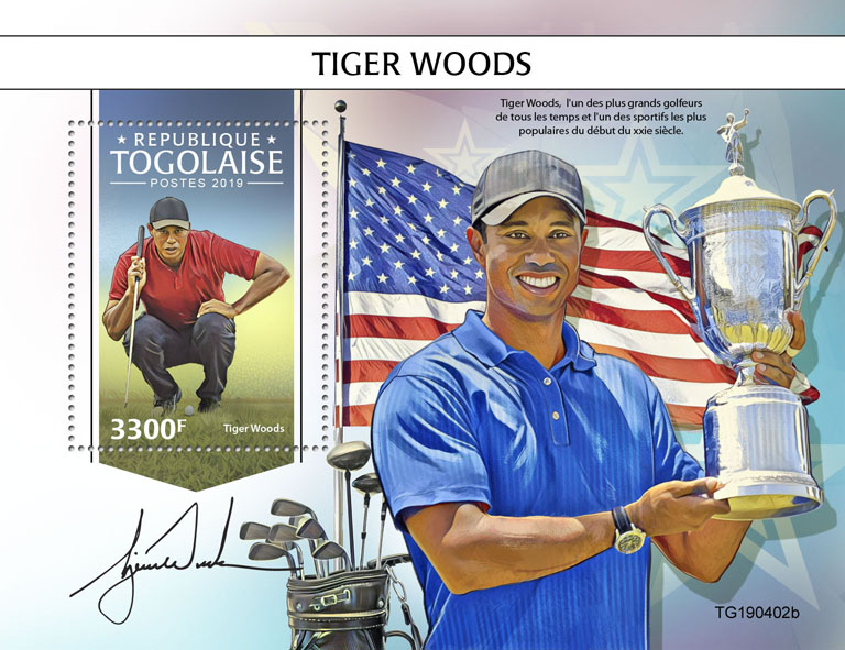 Tiger Woods  - Issue of Togo postage stamps