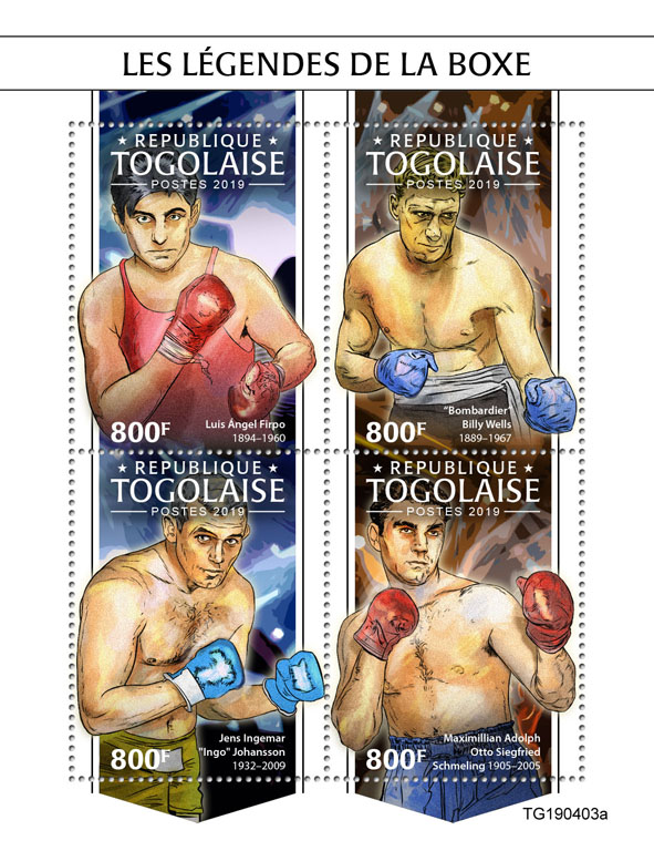 Box legend - Issue of Togo postage stamps