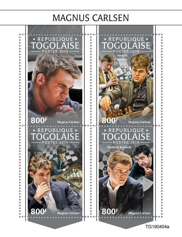 Magnus Carlsen - Issue of Togo postage stamps