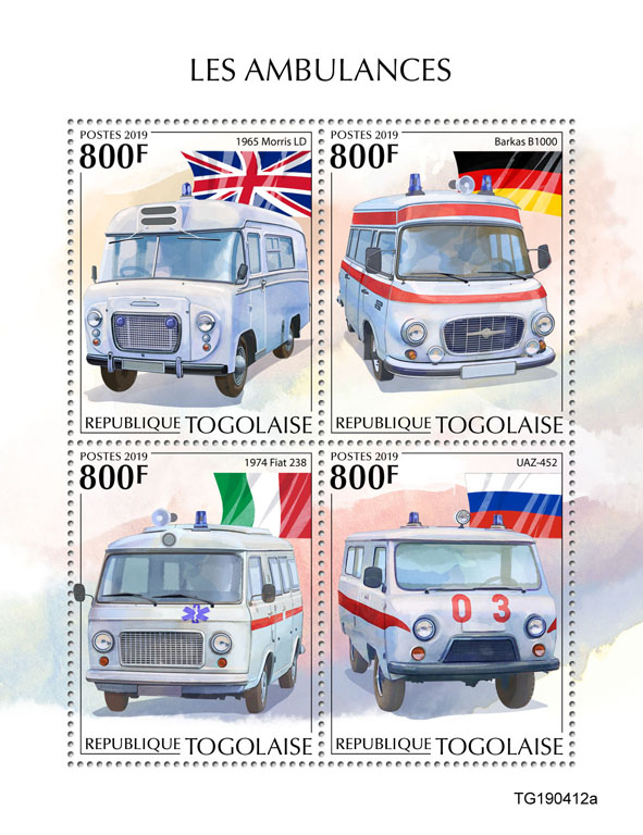 Ambulances - Issue of Togo postage stamps
