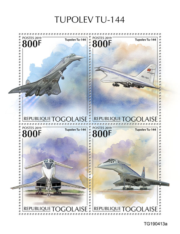 Tupolev TU-144  - Issue of Togo postage stamps