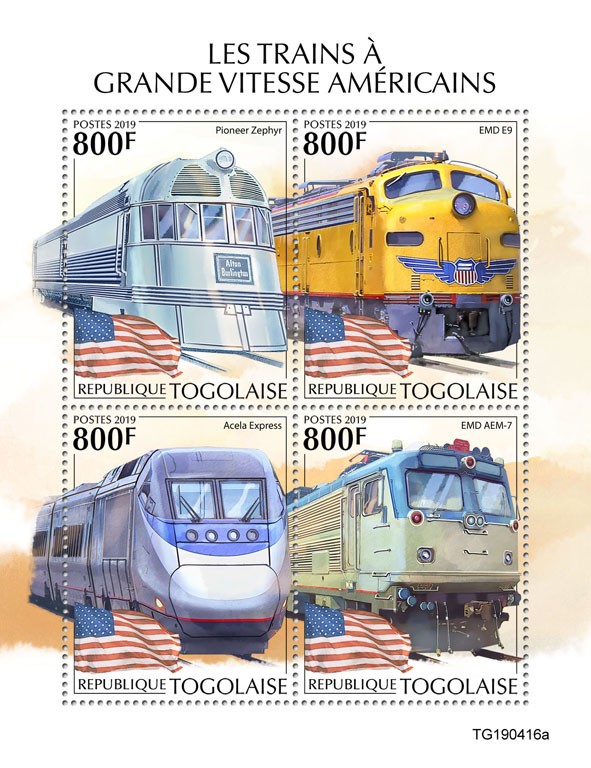 American speed trains - Issue of Togo postage stamps