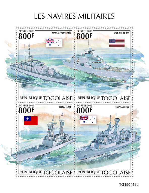 Military ships - Issue of Togo postage stamps
