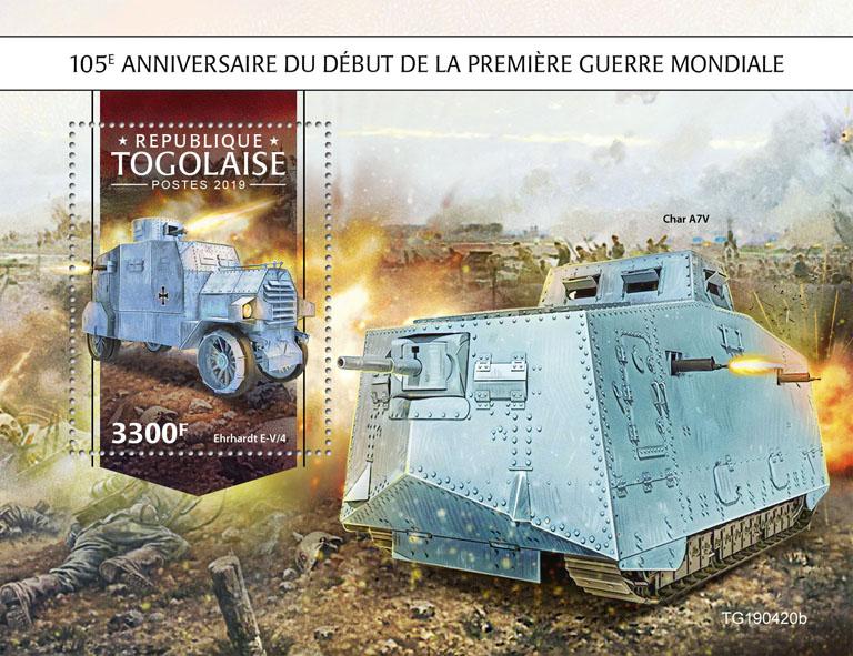 World War I  - Issue of Togo postage stamps