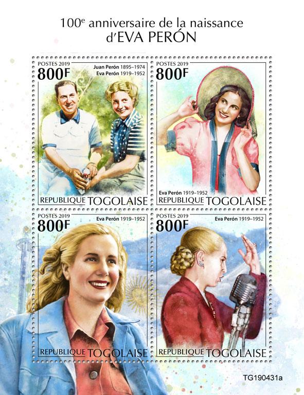 Eva Peron - Issue of Togo postage stamps