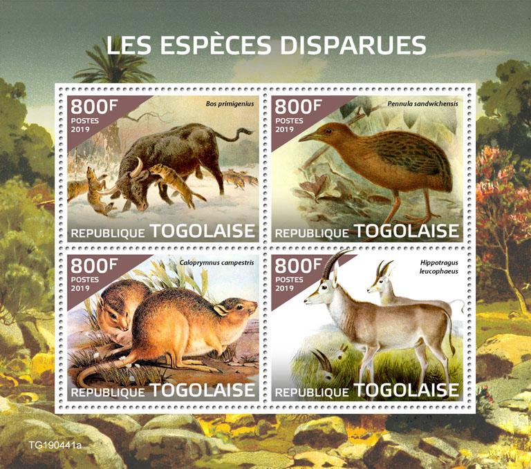 Extinct species - Issue of Togo postage stamps
