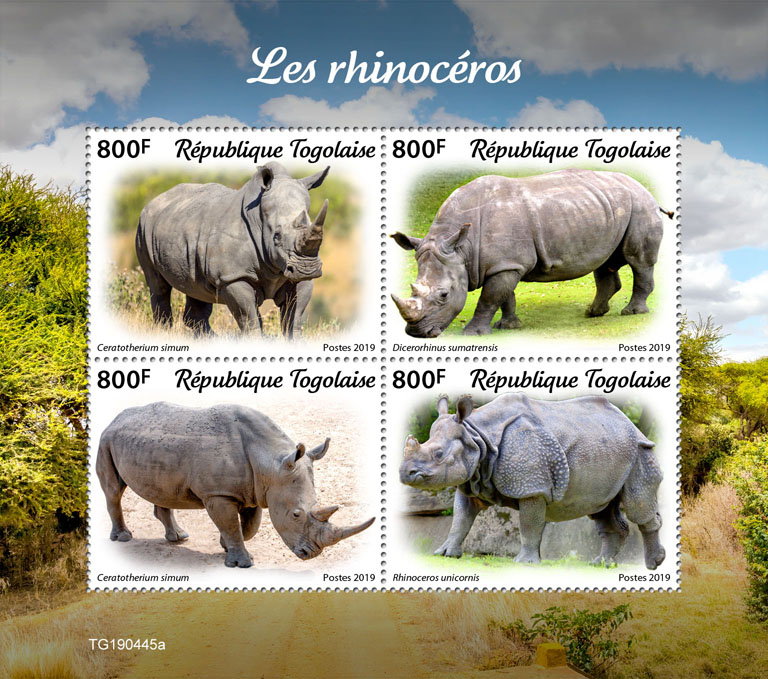 Rhinos - Issue of Togo postage stamps