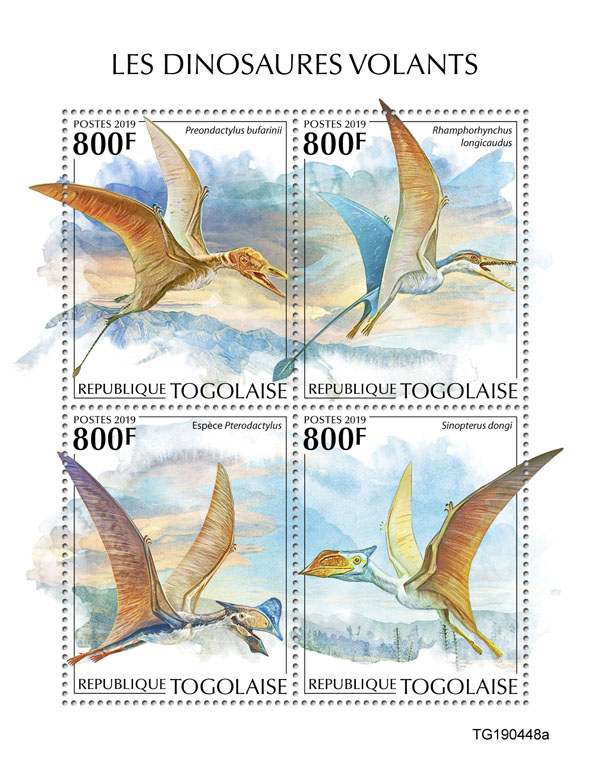 Flying dinosaurs - Issue of Togo postage stamps