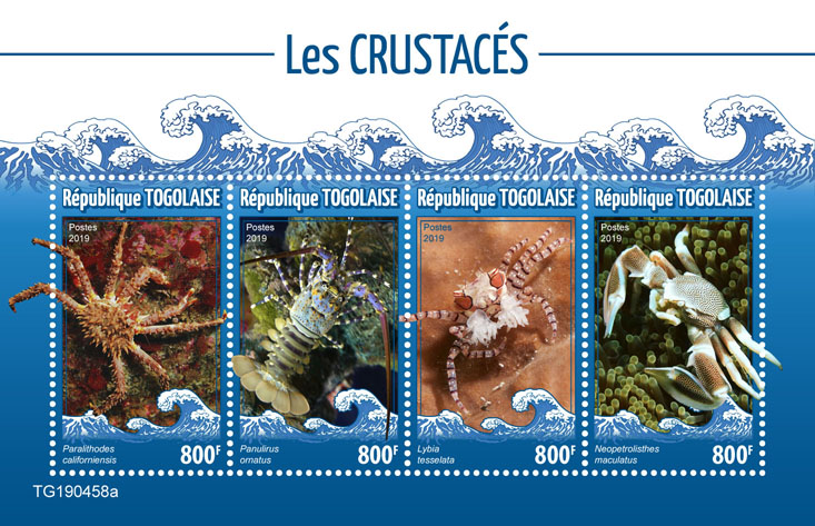 Crabs - Issue of Togo postage stamps