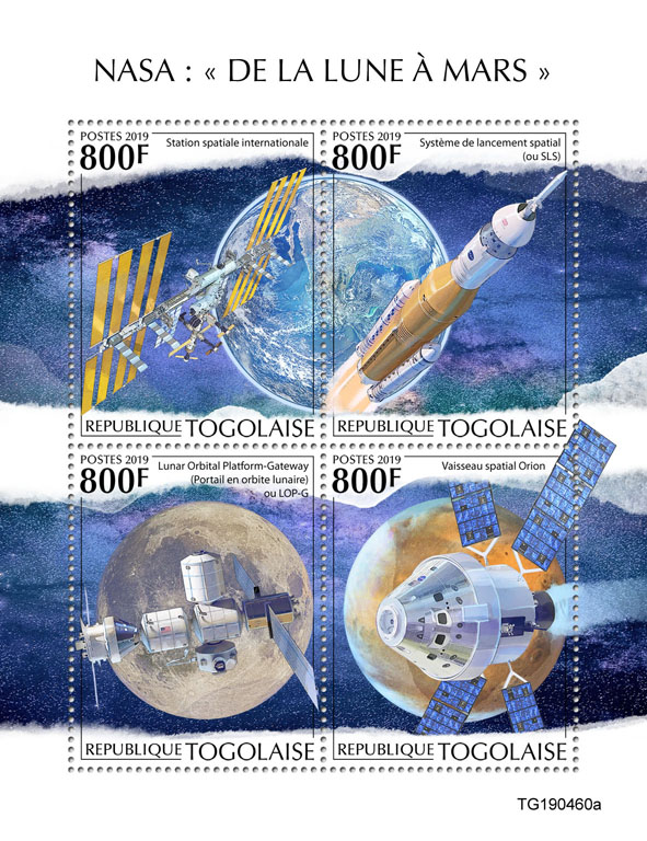 """NASA """"From Moon to mars"""" - Issue of Togo postage stamps"""