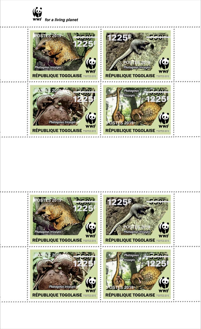 WWF overprint (Pangolin in silver foil)  - Issue of Togo postage stamps